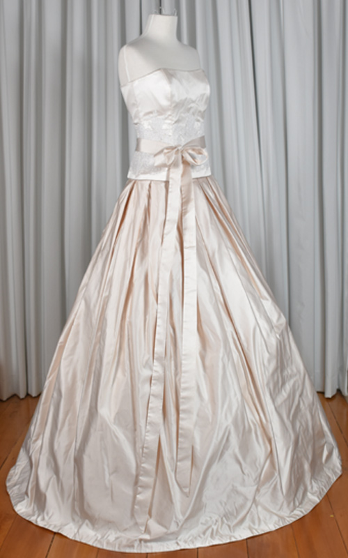 pink silk wedding dress