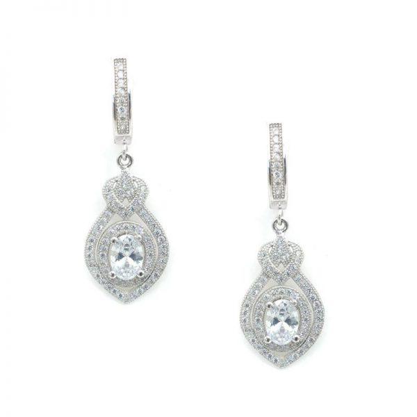 Sterling Silver Drop Bridal Earrings - CHSSE0004
