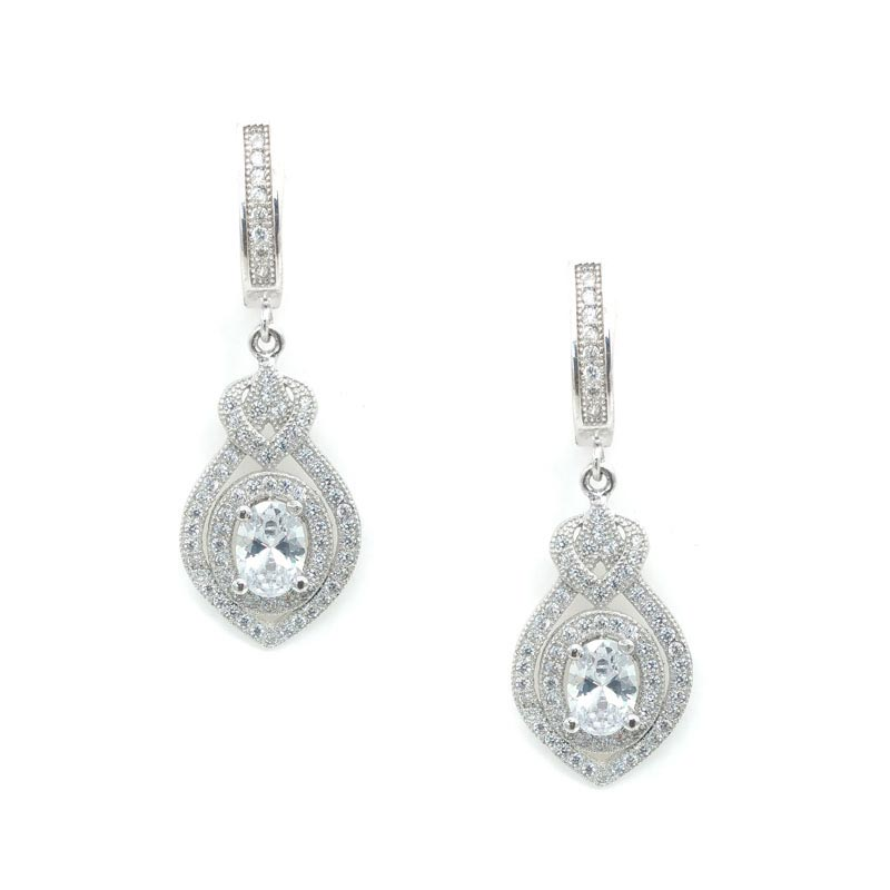 Sterling Silver Drop Bridal Earrings - CHSSE0004