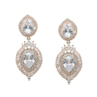 Rose Gold Drop Earrings - CHBAE0093