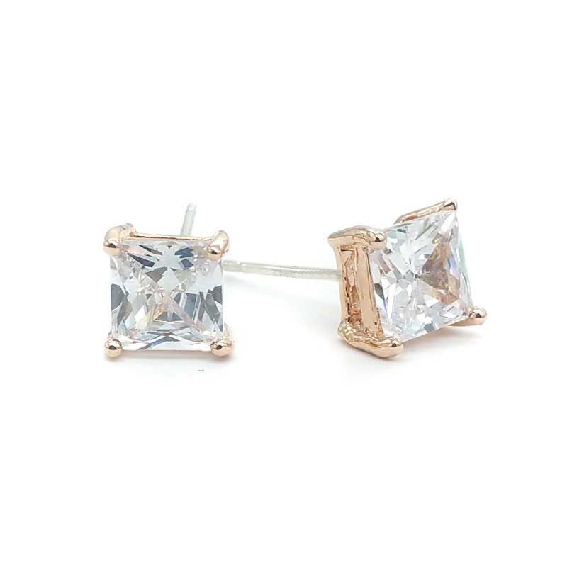 Rose Gold Princess Cut Stud Earrings - BAE5000CH