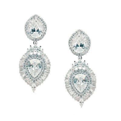 Silver bridal drop earrings - CHBAE0093