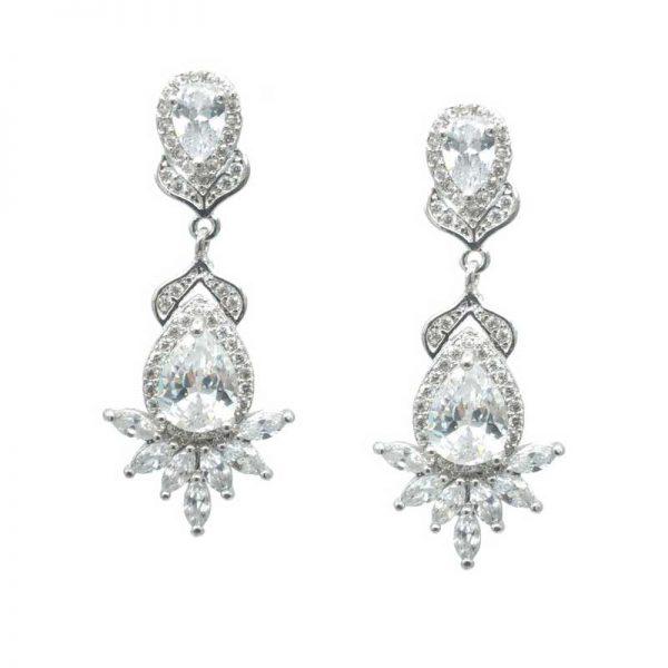 Elegant Silver Drop Earrings - CHBAE0206