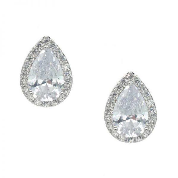 silver tear drop studs - CE880WCH