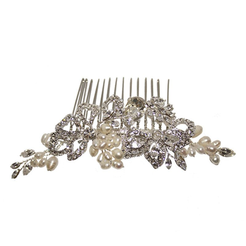 swarovski pearl and crystal hair comb