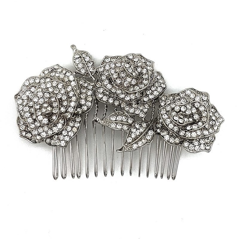 Silver rose Hair comb