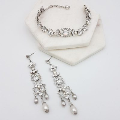 swarovski pearl and crystal chandelier aearring and bracelet set