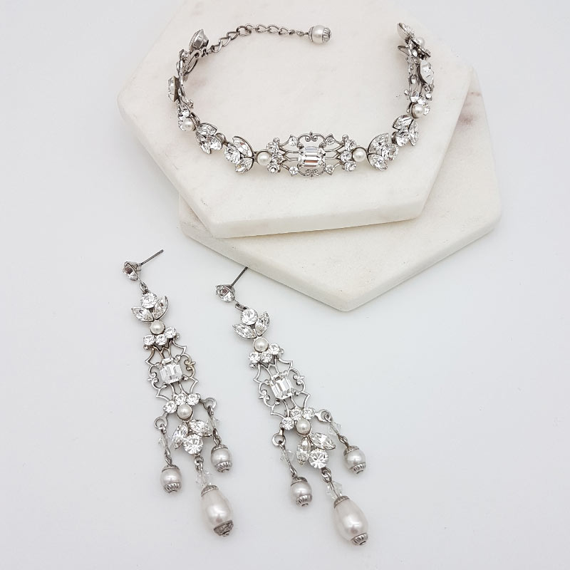 swarovski pearl and crystal chandelier aearring and bracelet set
