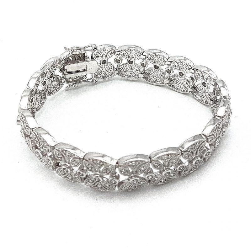 Silver Bridal Cuff Bracelet