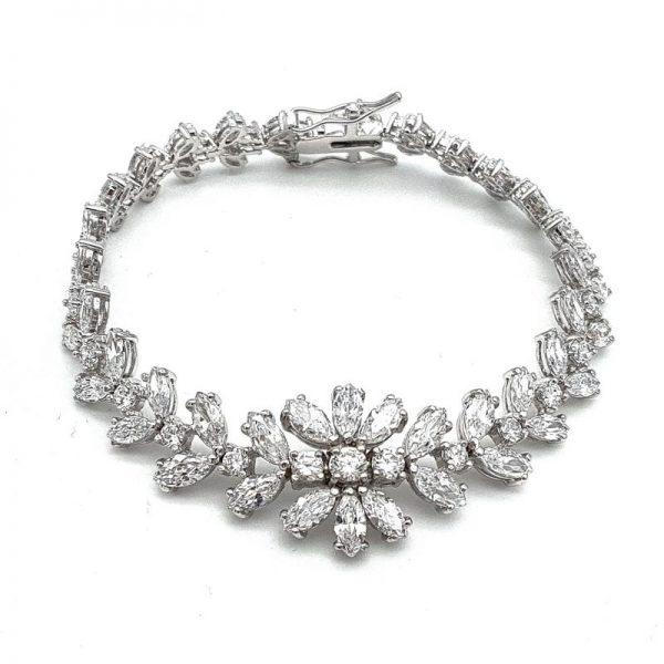 silver cubic zirconia bridal bracelet