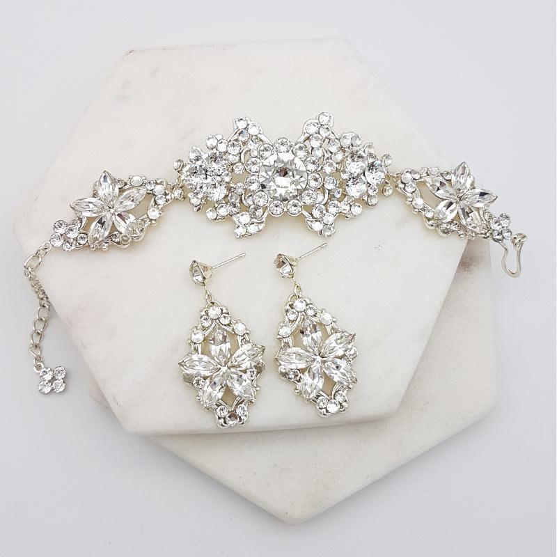 Swarovski crystal bridal bracelet and earring set