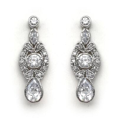 silver art deco bridal earrings