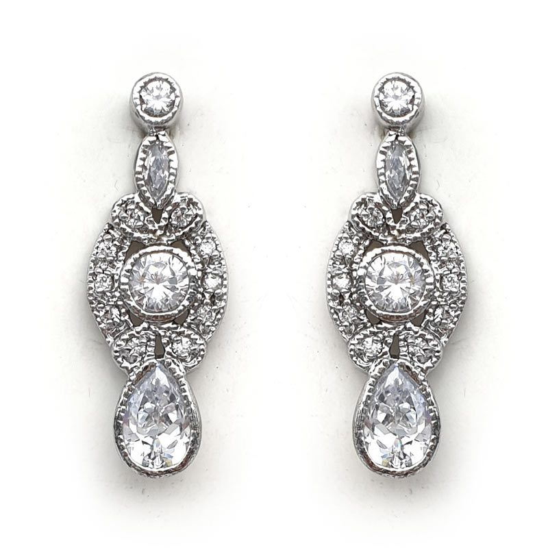silver art deco bridal earrings