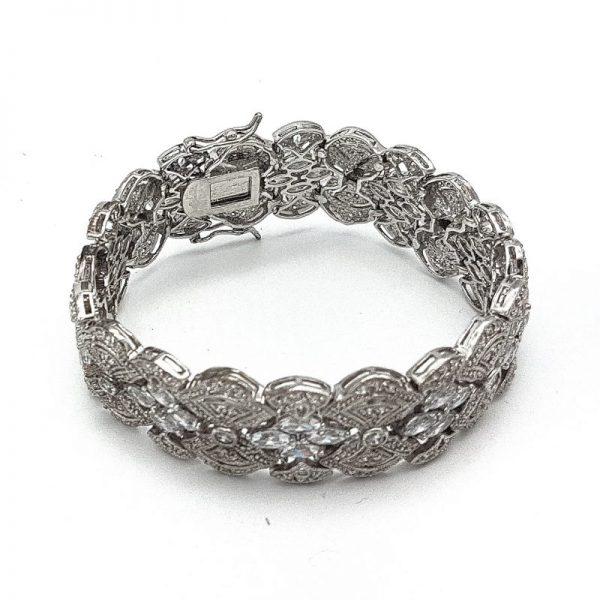 Silver Wide Bridal Cuff Bracelet