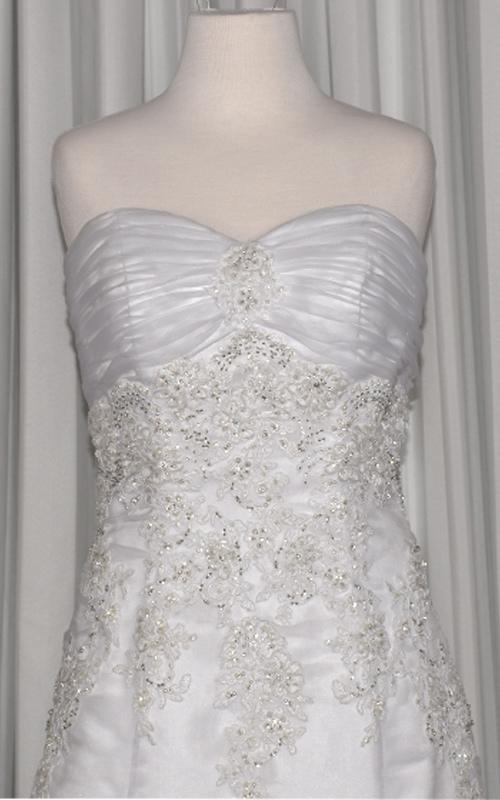 White Strapless Beaded Bridal Gown - E9124 - Sz 12