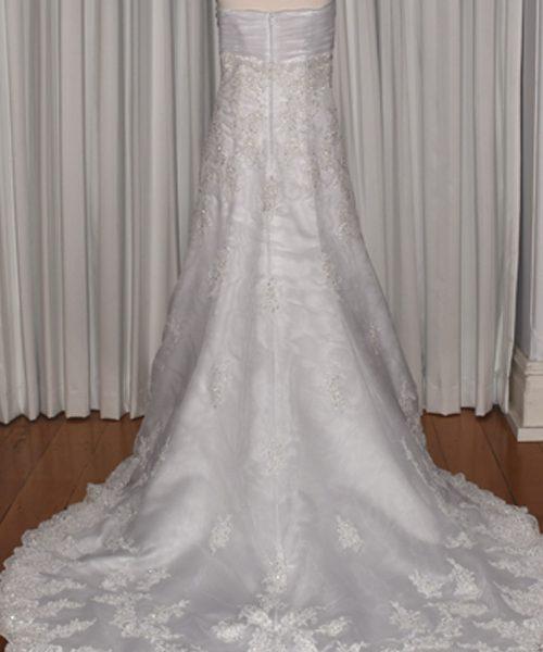scalloped hem wedding gown
