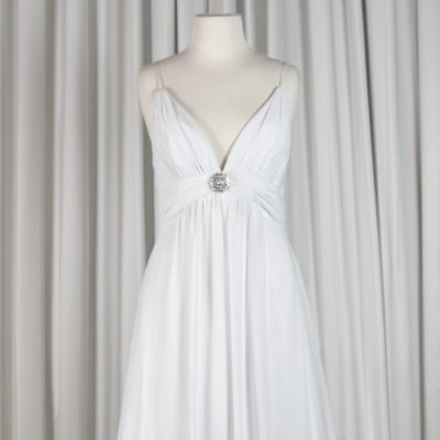 White chiffon bridal gown