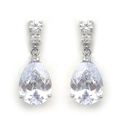 silver cz pear drop earrings