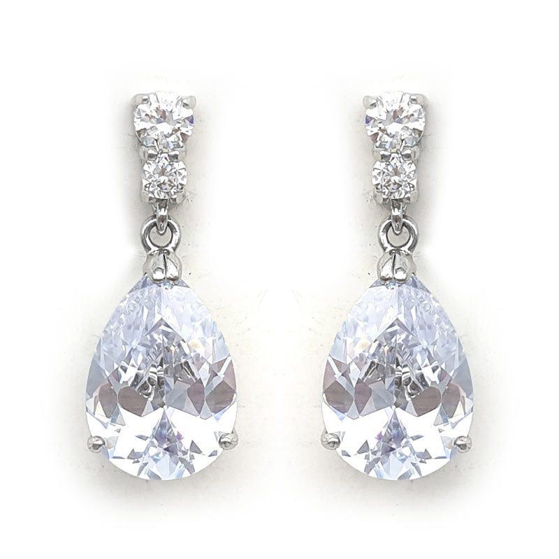 silver cz pear drop earrings