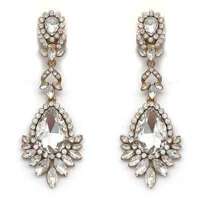 large gold crystal drop earrings