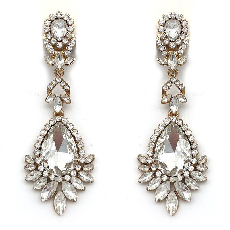 large gold crystal drop earrings