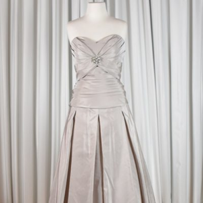 strapless taffeta pleated bridal gown