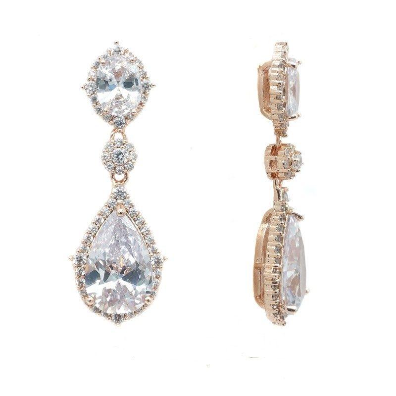 rose gold tear drop bridal earrings