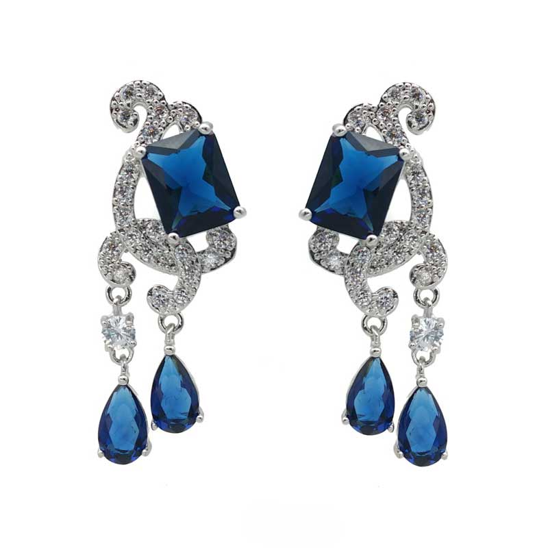 Blue CZ earrings and Necklace set - Alice - CHMN0203