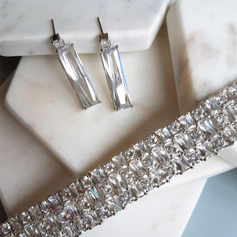 cubic zirconia cuff bracelet and earrings set - Georgie