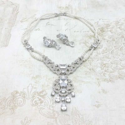 Clear CZ and Pearl necklace and earrings set - Alice - CHMN0203