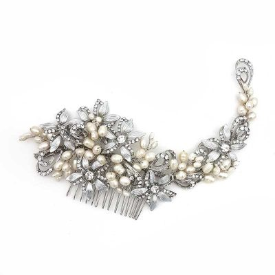 silver fresh water pearl hair comb