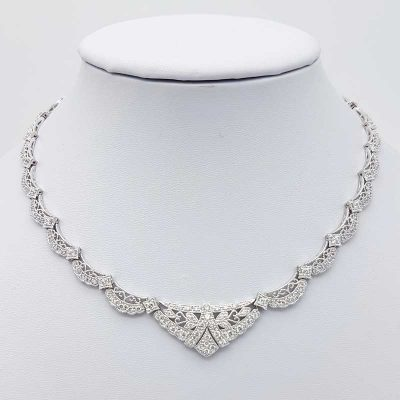 silver collar cubic zirconia bridal necklace