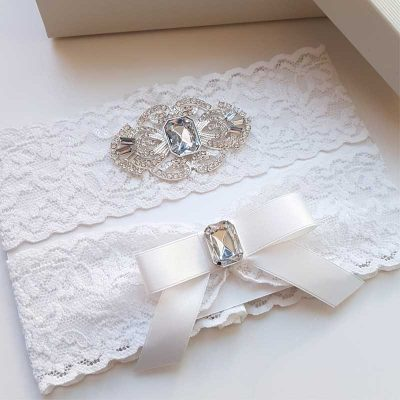 white crystal bridal garter set