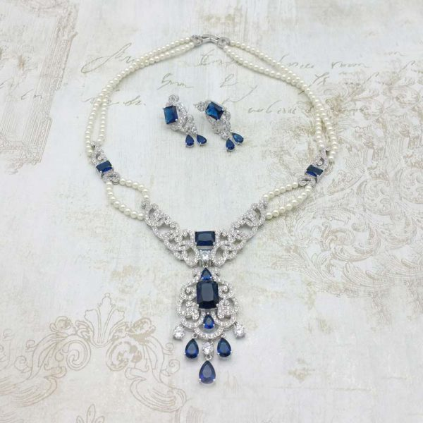 blue necklace and earring set - Alice - CHMN0203