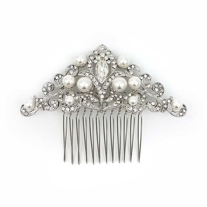 silver pearl bridal comb