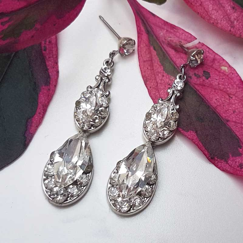 Silver Swarovski earrings - Sia