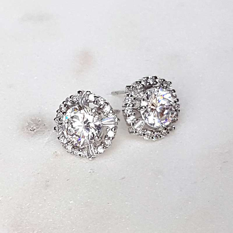 round stud bridal earrings