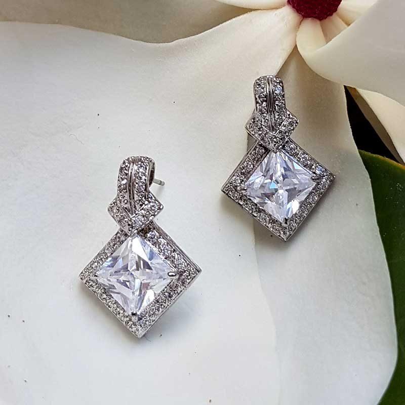 diamond shaped silver stud earrings