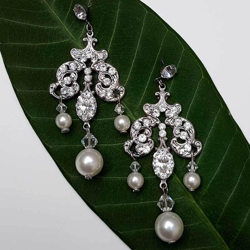 swarovski crystal and pearl chandelier earrings