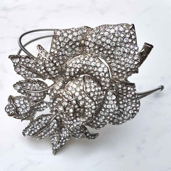 silver rose bridal headband