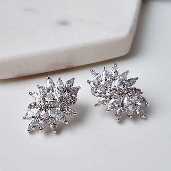 cubic zirconia large stud earrings