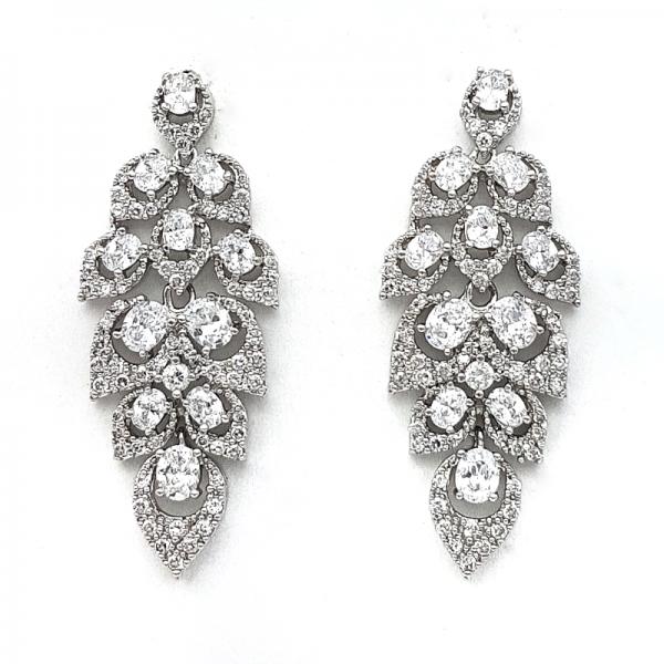 silver cluster bridal earrings