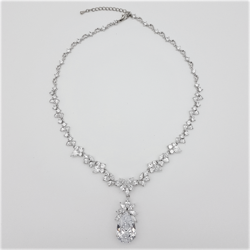 CZ large teardrop necklace
