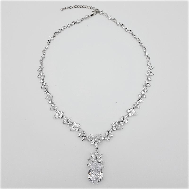 CZ large teardrop necklace