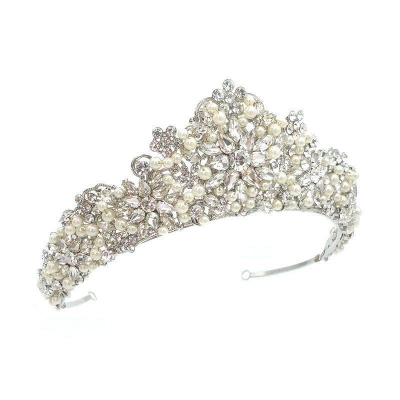 Silver Pearl Bridal Crown