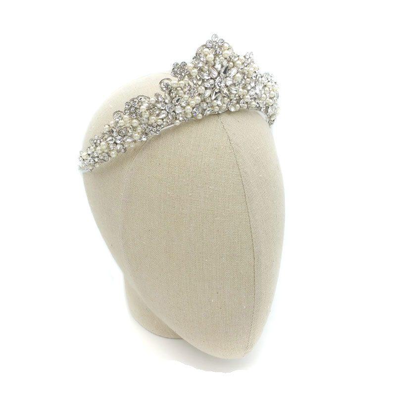 Rhodium Pearl Bridal Crown - Torrie