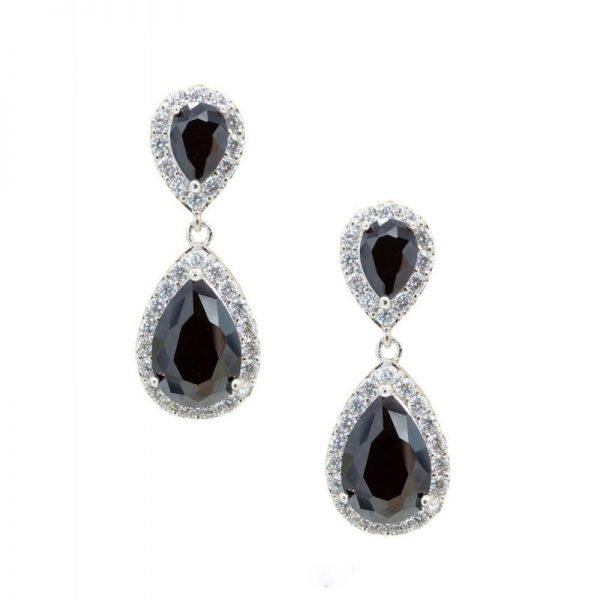 black tear drop earrings - CHBAE0077