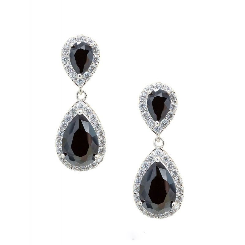 black tear drop earrings - CHBAE0077