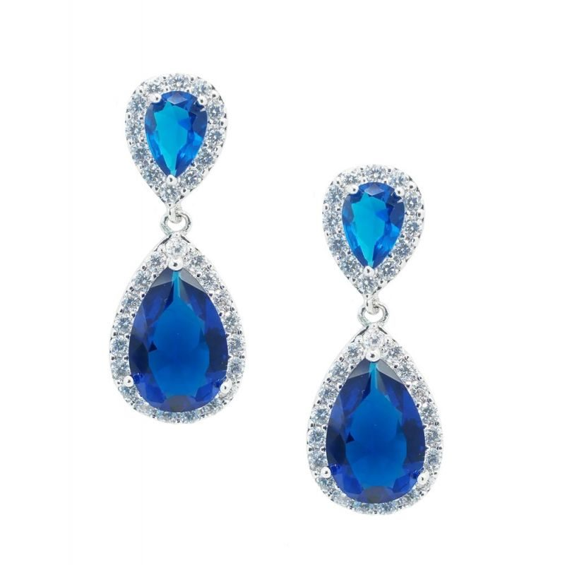 blue tear drop earrings - CHBAE0077