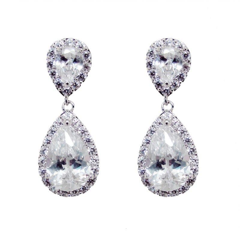 silver tear drop earrings - CHBAE0077